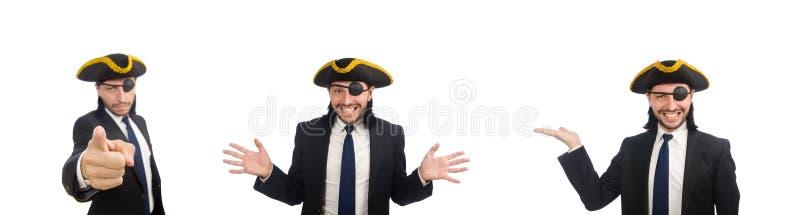 Hombre de negocios del pirata que lleva tricorne aislado en blanco imágenes de archivo libres de regalías