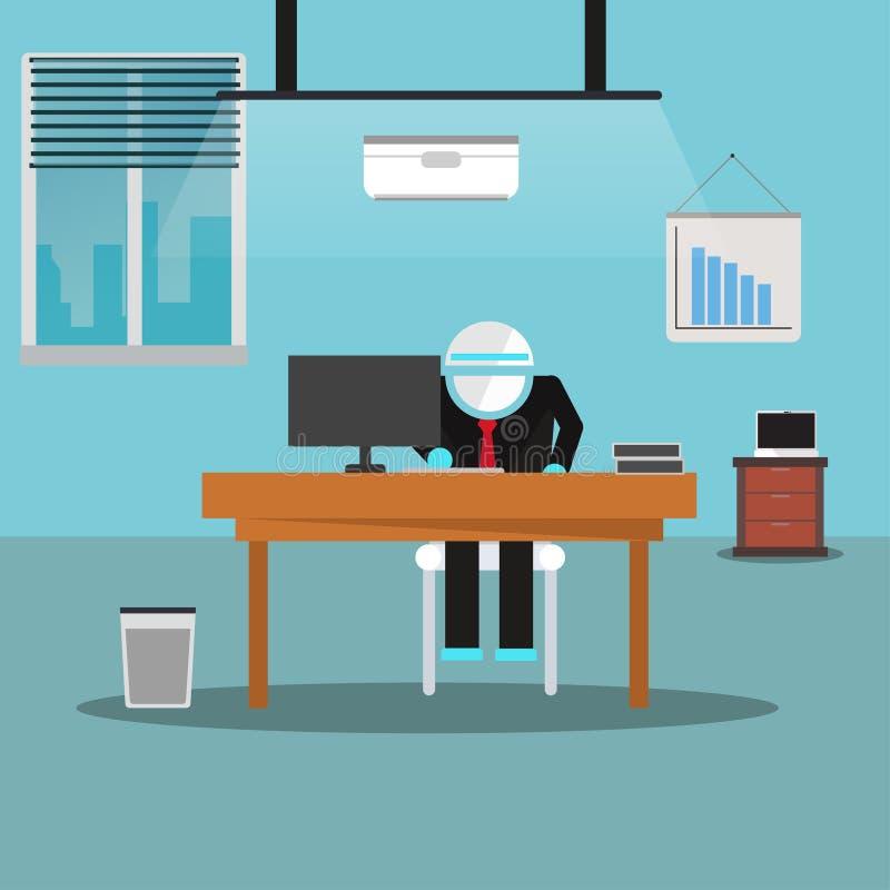 Hombre de negocios del robot que trabaja con el ordenador en la oficina libre illustration