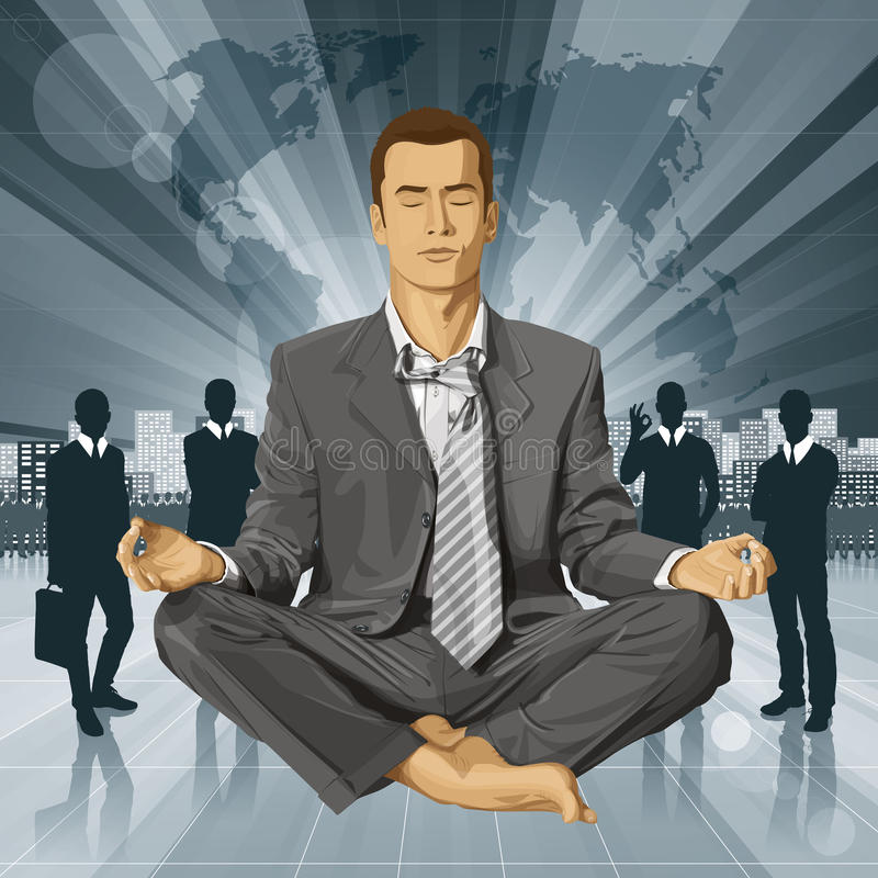 Hombre de negocios del vector en Lotus Pose Meditating stock de ilustración