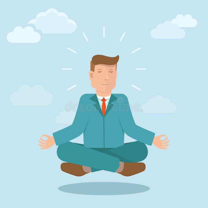 Hombre de negocios del vector que medita en estilo plano libre illustration