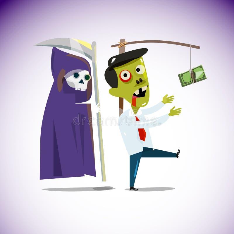 Hombre de negocios del zombi que persigue una ejecución del dinero de un palillo con gri libre illustration