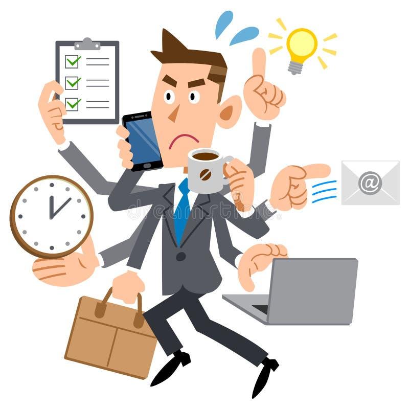 Hombre de negocios demasiado ocupado ilustración del vector
