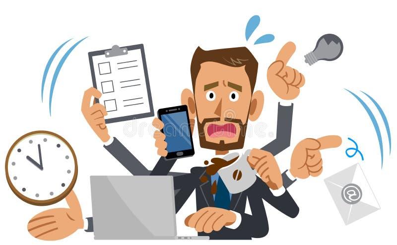 Hombre de negocios demasiado ocupado, marrón, barba ilustración del vector