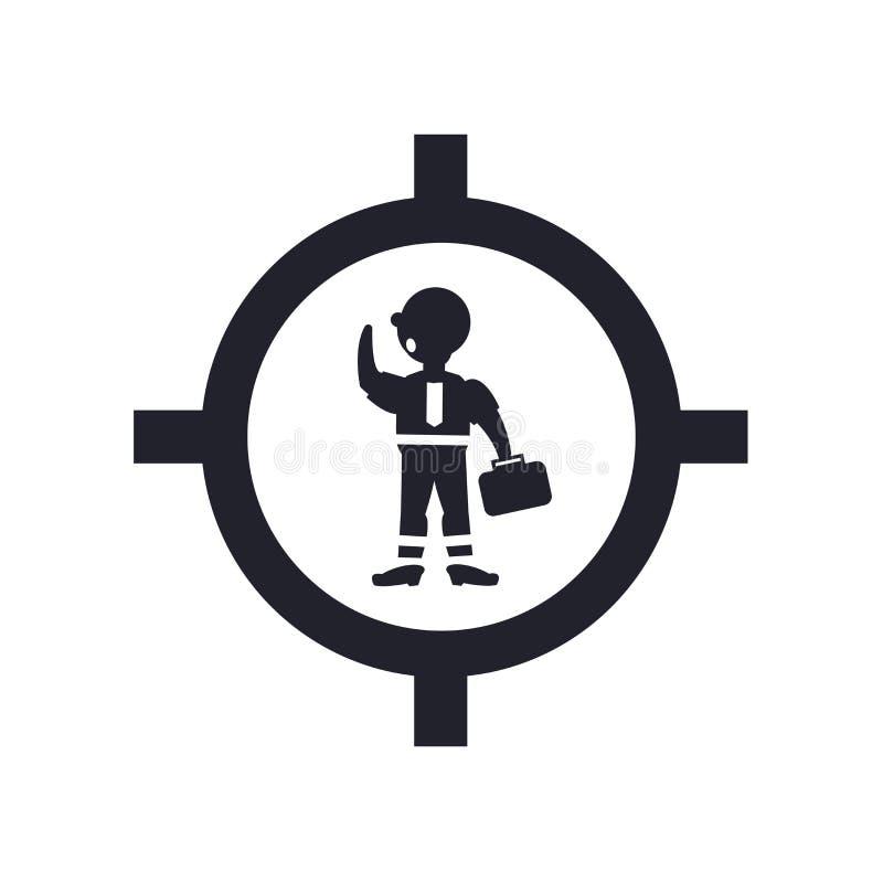Hombre de negocios dentro de una muestra y de un símbolo del vector del icono de la bola aislado en el fondo blanco, hombre de ne libre illustration
