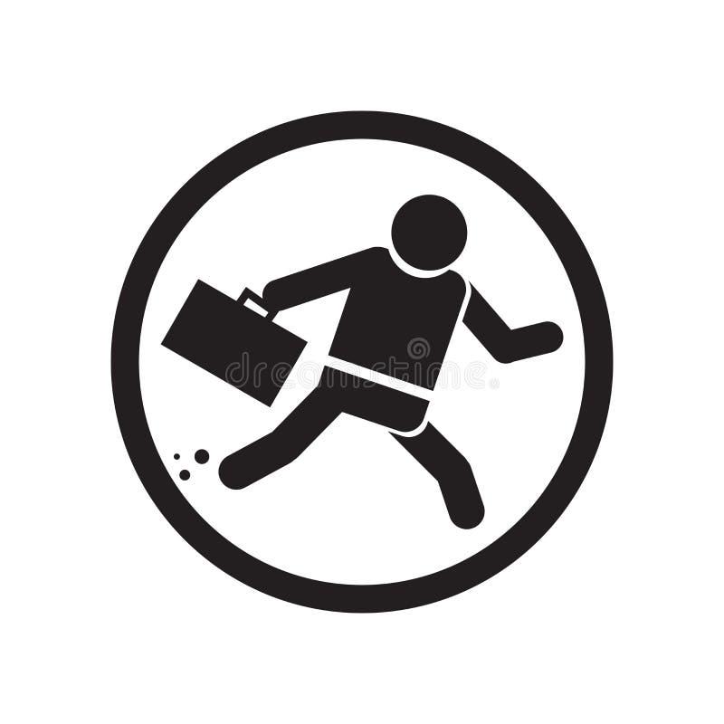 Hombre de negocios dentro de una muestra y de un símbolo del vector del icono de la bola aislado en el fondo blanco, hombre de ne stock de ilustración