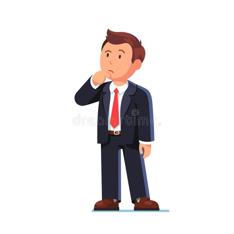 Hombre de negocios derecho que hace gesto de pensamiento stock de ilustración