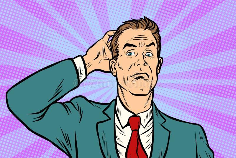 Hombre de negocios desconcertado y confundido ilustración del vector