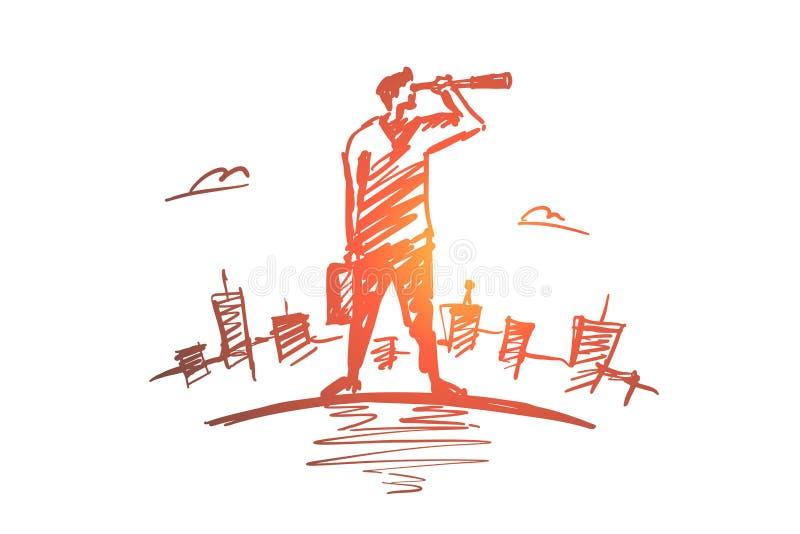 Hombre de negocios dibujado mano que mira a través del catalejo libre illustration