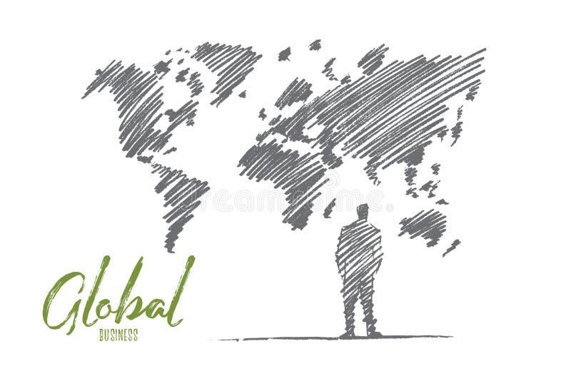 Hombre de negocios dibujado mano que se coloca en el mapa del mundo grande libre illustration