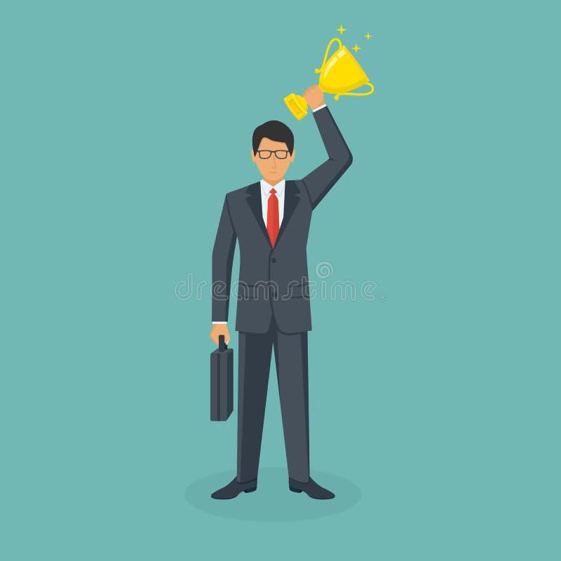 Hombre de negocios disponible de la taza que gana ilustración del vector