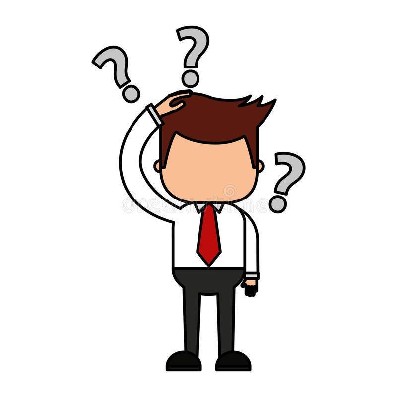 Hombre de negocios divertido con el icono del carácter de la serie de la duda ilustración del vector