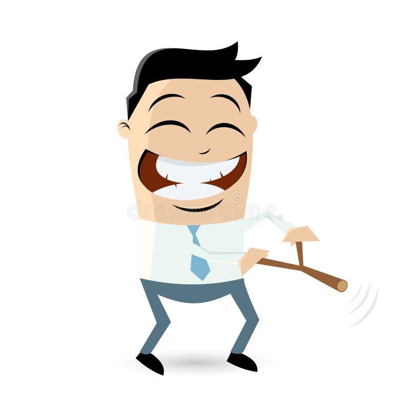 Hombre de negocios divertido con la radiestesia libre illustration