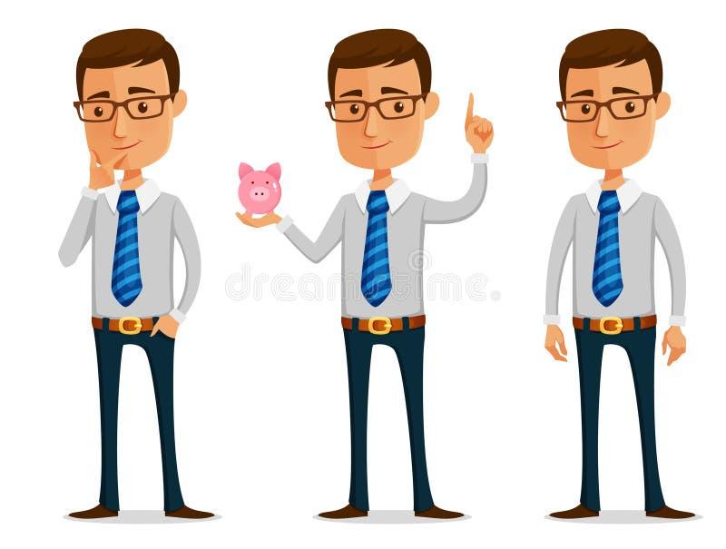 Hombre de negocios divertido de la historieta ilustración del vector