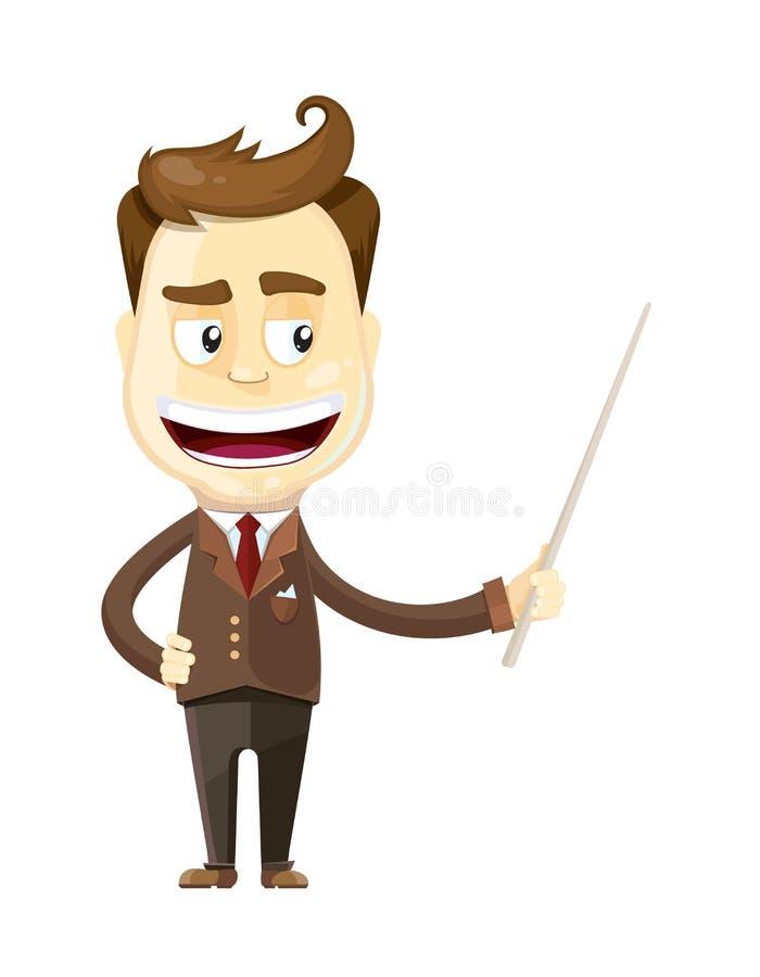 Hombre de negocios divertido de la historieta que presenta o que muestra algo ilustración del vector