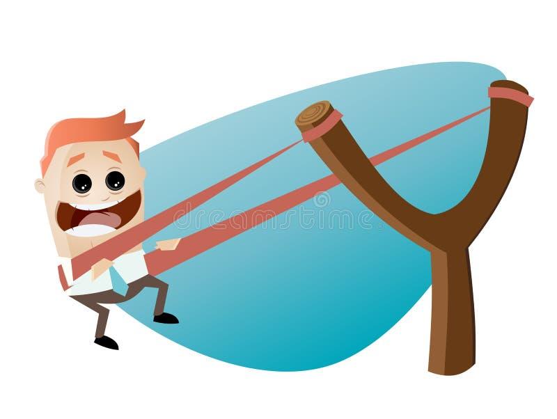 Hombre de negocios divertido en catapulta stock de ilustración