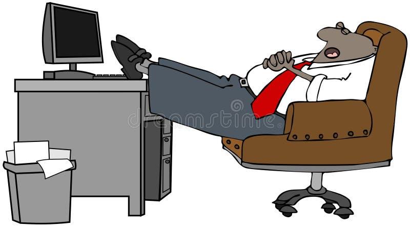 Hombre de negocios dormido en su escritorio stock de ilustración