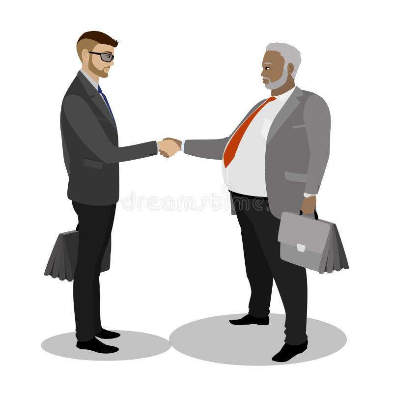 Hombre de negocios dos que sacude las manos, aisladas en el fondo blanco stock de ilustración