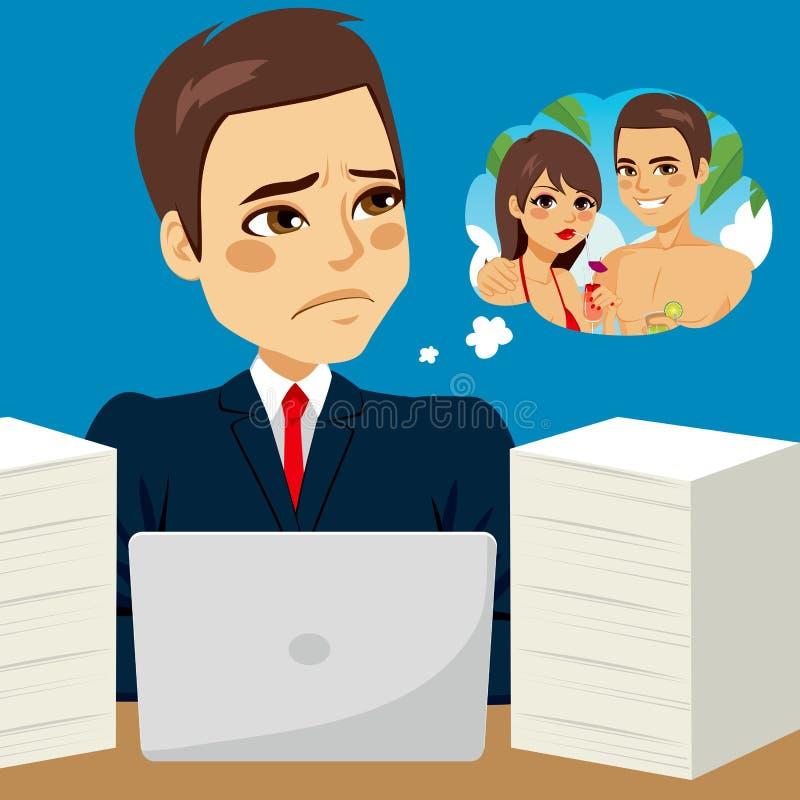 Hombre de negocios Dreaming Vacation ilustración del vector