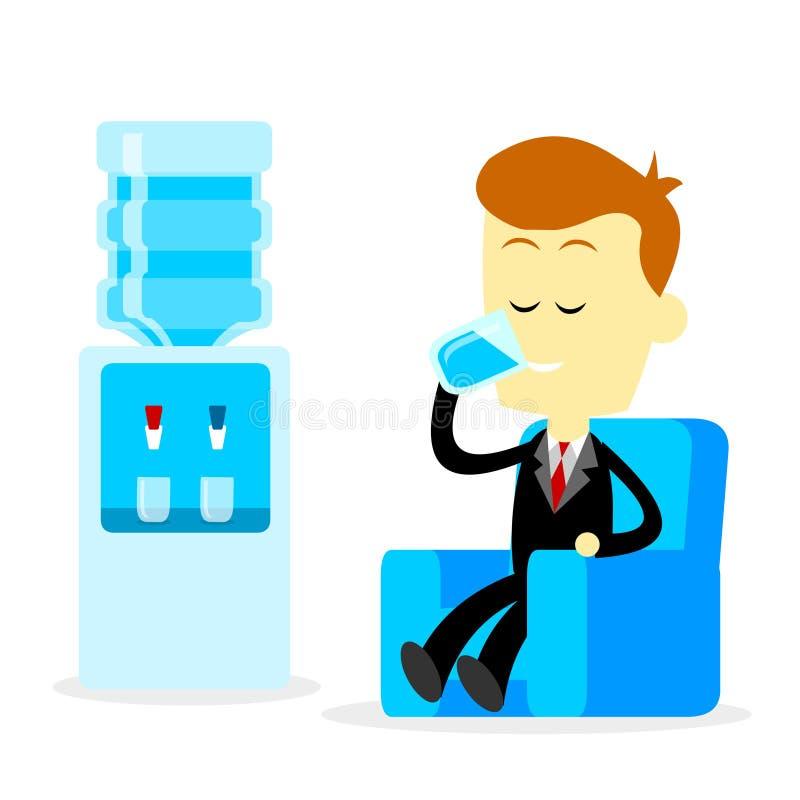 Hombre de negocios Drinking al vidrio de agua libre illustration
