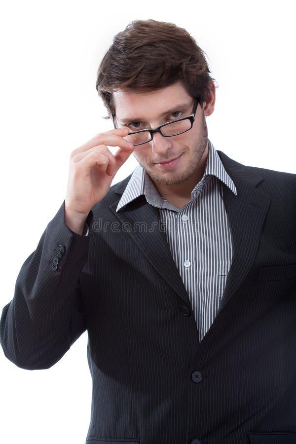 Hombre de negocios durante la mirada atractivo imagenes de archivo