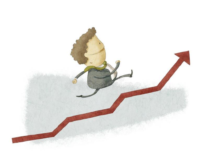 Hombre de negocios ejecutado en un crecimiento libre illustration