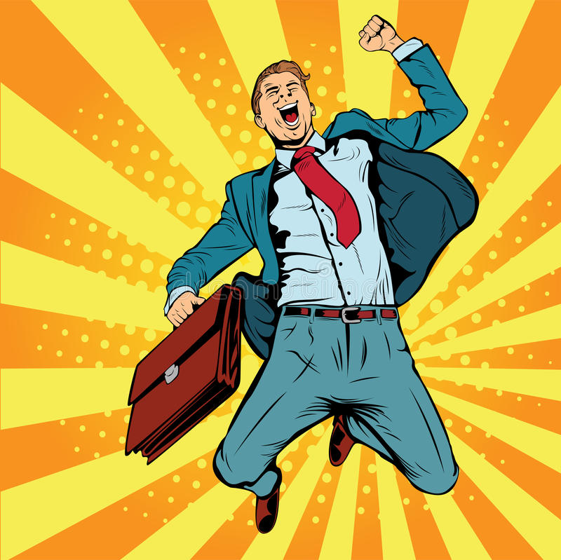 Hombre de negocios el ejemplo retro del vector del arte pop del ganador ilustración del vector