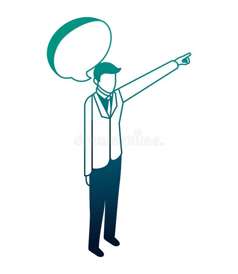 Hombre de negocios elegante con la mano encima de y la burbuja del discurso stock de ilustración
