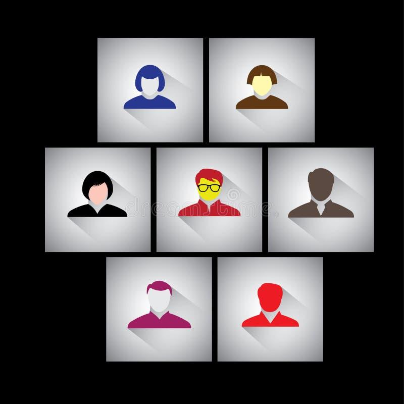 Hombre de negocios, empleados y ejecutivos - iconos planos del vector del diseño stock de ilustración