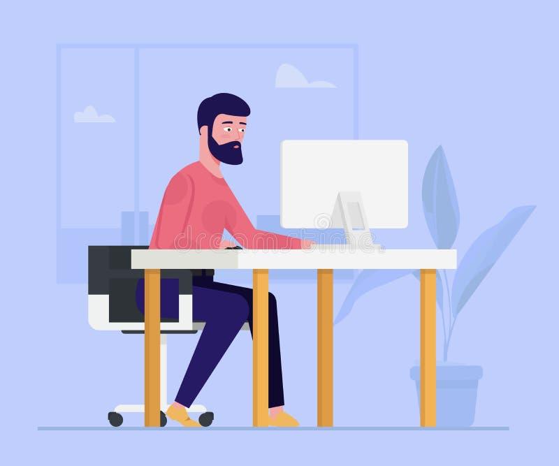 Hombre de negocios, empresario que trabaja en un ordenador en su escritorio de oficina Oficinista, personaje de dibujos animados  libre illustration