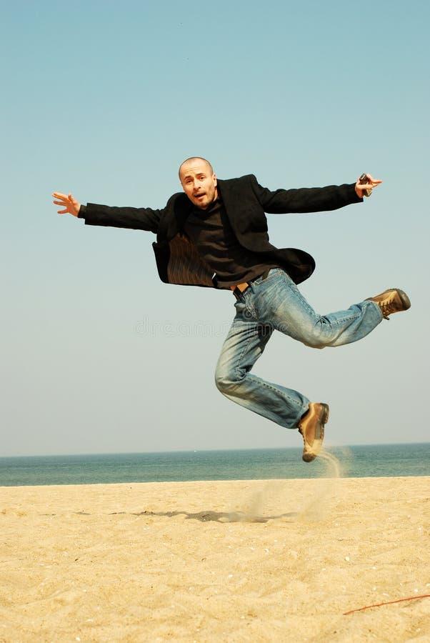 Hombre de negocios enérgio feliz fotos de archivo