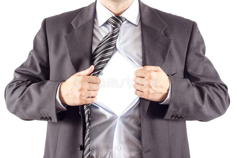 Hombre de negocios en actitud clásica del superhombre imagenes de archivo