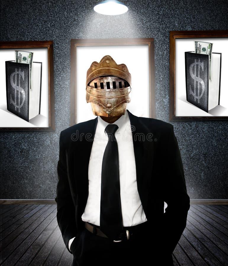 Hombre de negocios en armadura fotos de archivo libres de regalías