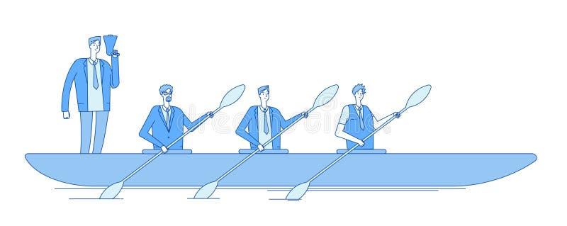 Hombre de negocios en barco Remeros del equipo de la gente del líder del capitán del negocio que reman en la línea negocio del tr stock de ilustración