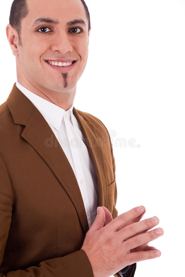 Hombre de negocios en capa marrón foto de archivo