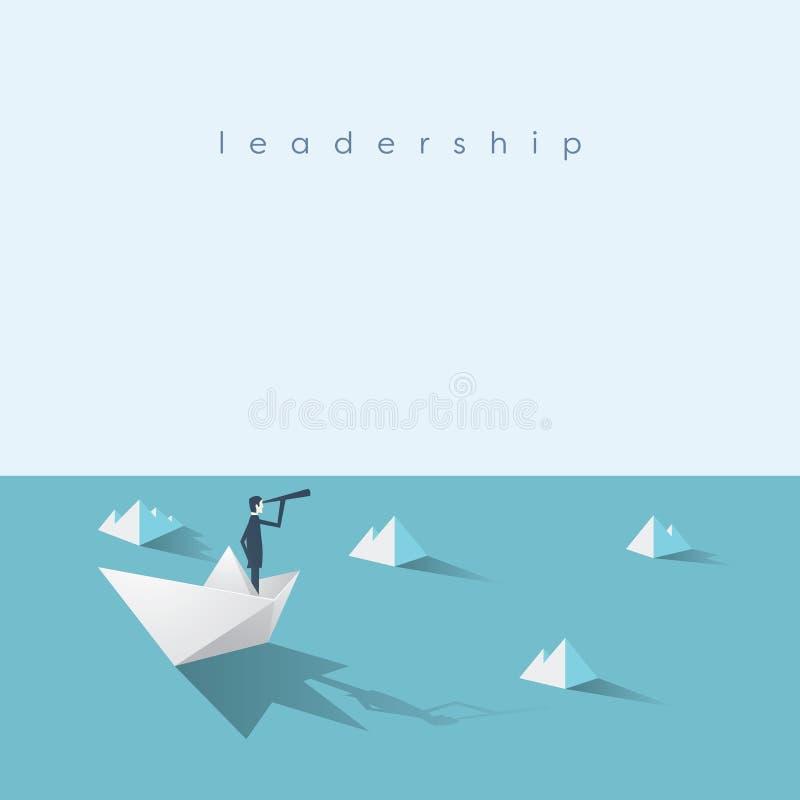 Hombre de negocios en el barco de papel en el mar con los icebergs Símbolo del riesgo y de la dirección de negocio ilustración del vector