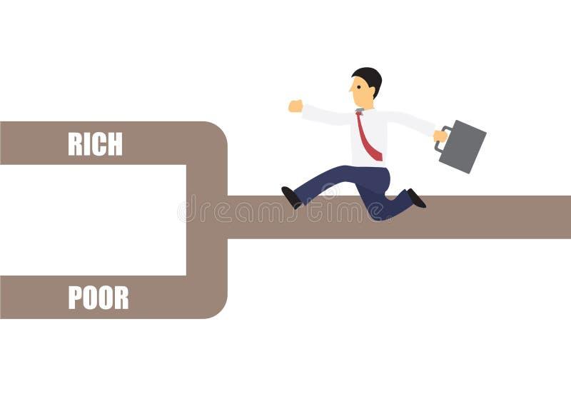 Hombre de negocios en el cruce que decide ser rico o pobres Concepto de gestión de la planificación empresarial o de la vida ilustración del vector