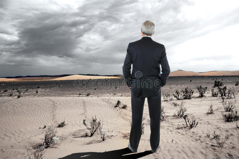 Hombre de negocios en el desierto fotografía de archivo libre de regalías