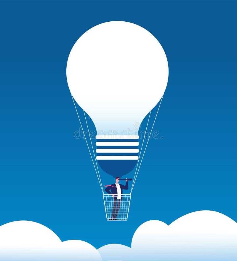 Hombre de negocios en el globo El hombre con el catalejo en balón de aire le gusta el bulbo Oportunidad de negocio, nueva idea y  stock de ilustración