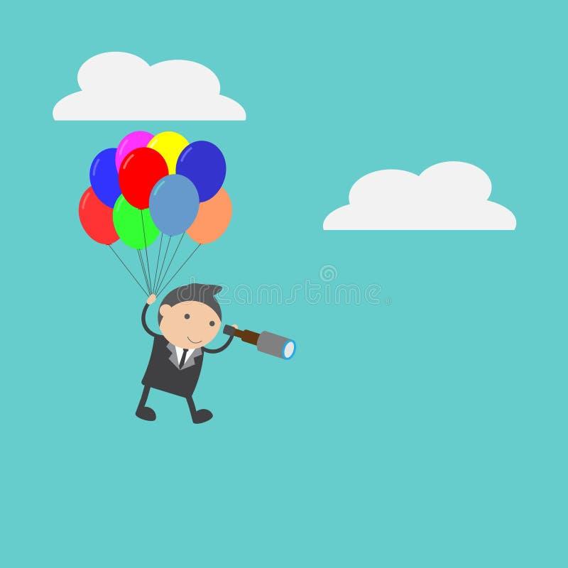 Hombre de negocios en el globo con el telescopio Concepto del extracto del personaje de dibujos animados del ejemplo del vector d fotografía de archivo libre de regalías