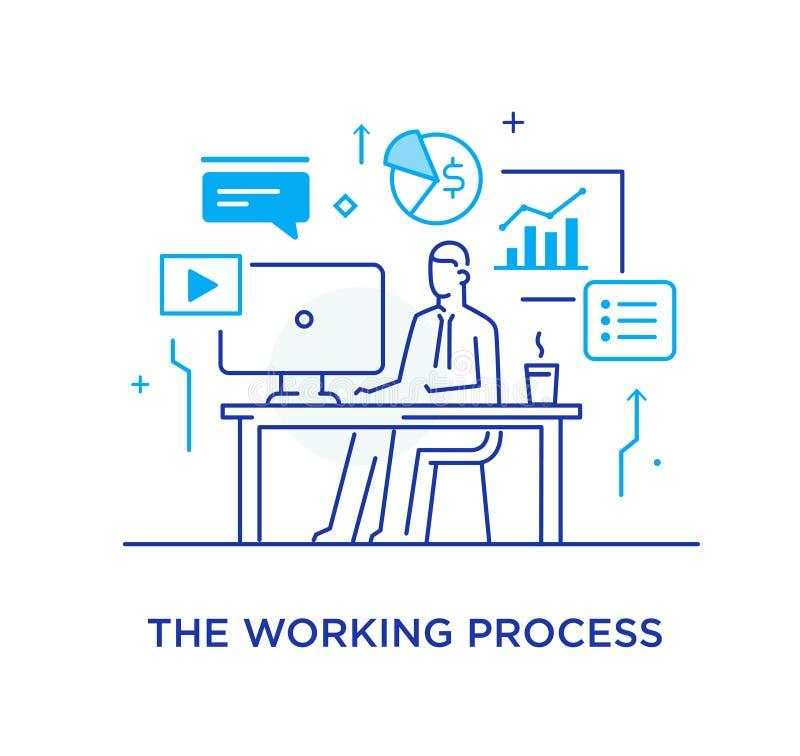 Hombre de negocios en el interfaz del lugar de trabajo del monitor Flujo de trabajo, crecimiento, gráficos Desarrollo de negocios stock de ilustración