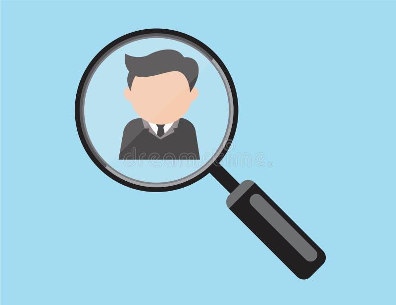 Hombre de negocios en el marco de la lupa como él realiza para ser elegido o para ser seleccionado ilustración del vector