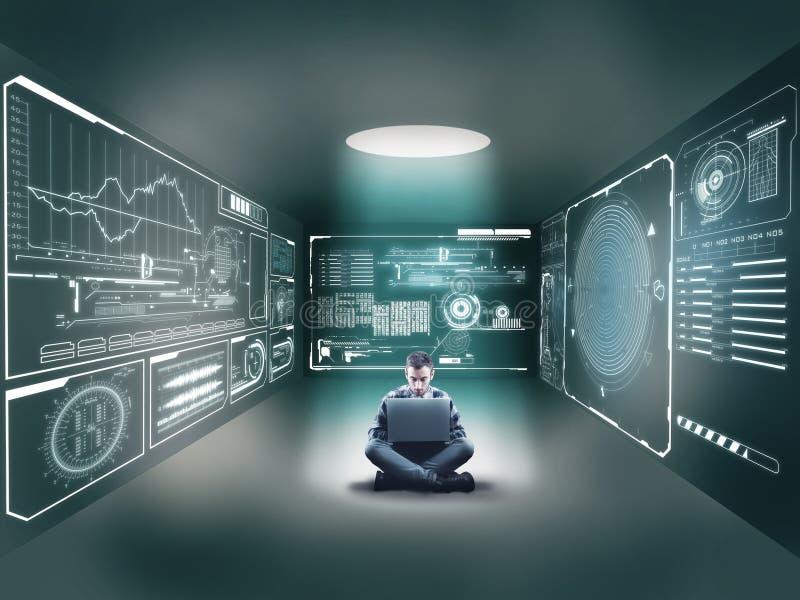 Hombre de negocios en el medio de un cuarto con un ordenador portátil imágenes de archivo libres de regalías