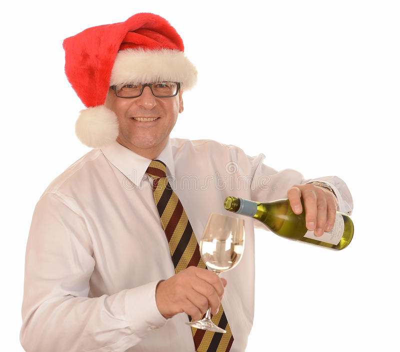 Hombre de negocios en el sombrero de Santa fotos de archivo libres de regalías