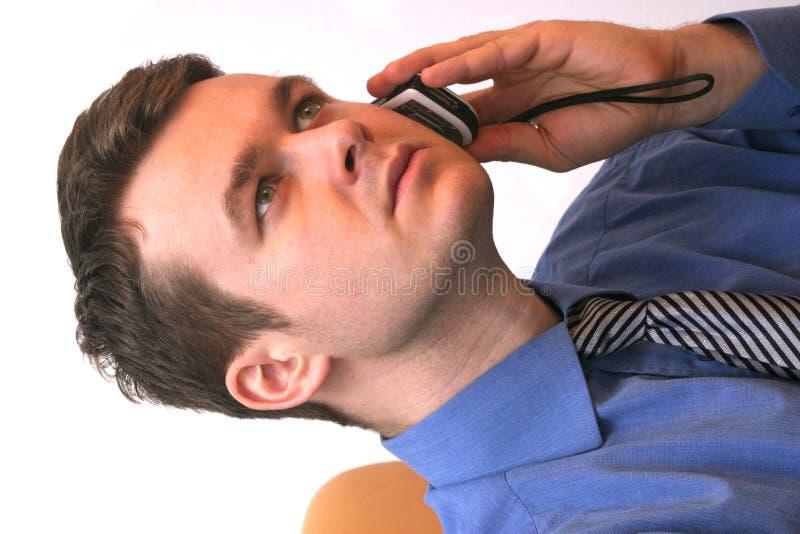 Hombre De Negocios En El Teléfono Móvil - Módulo De Escucha Activo Fotos de archivo libres de regalías