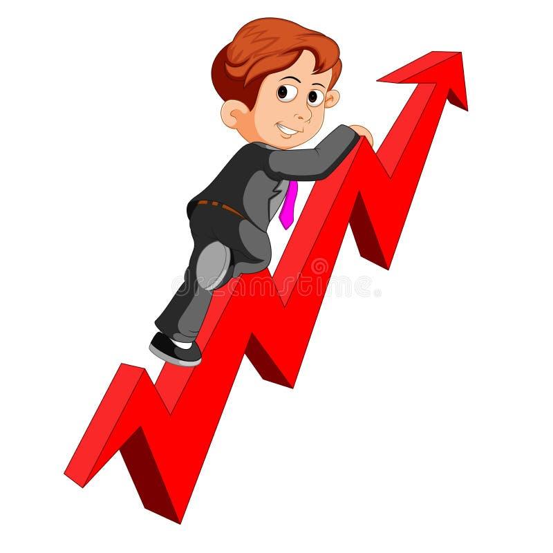 Hombre de negocios en gráfico de la flecha ilustración del vector