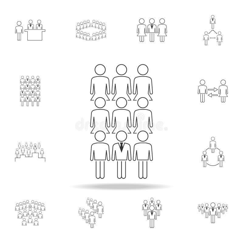 hombre de negocios en icono femenino del equipo Sistema detallado de gente en iconos del trabajo Diseño gráfico superior Uno de l libre illustration