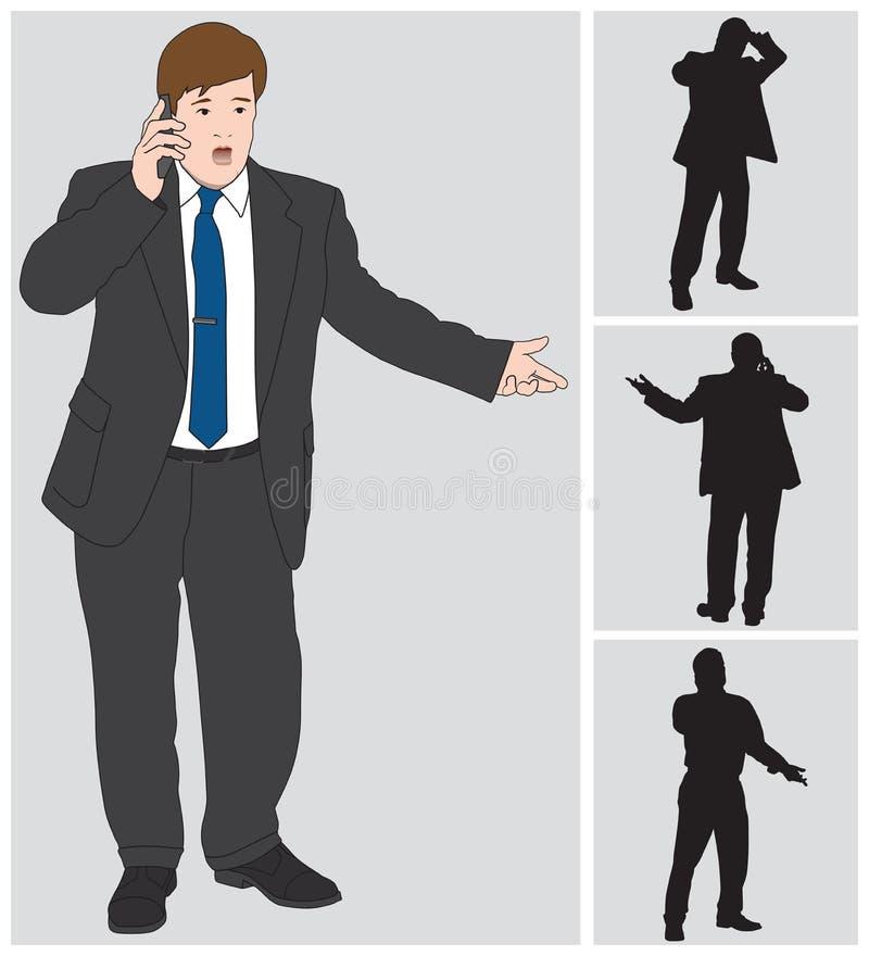 Hombre de negocios en la célula ilustración del vector