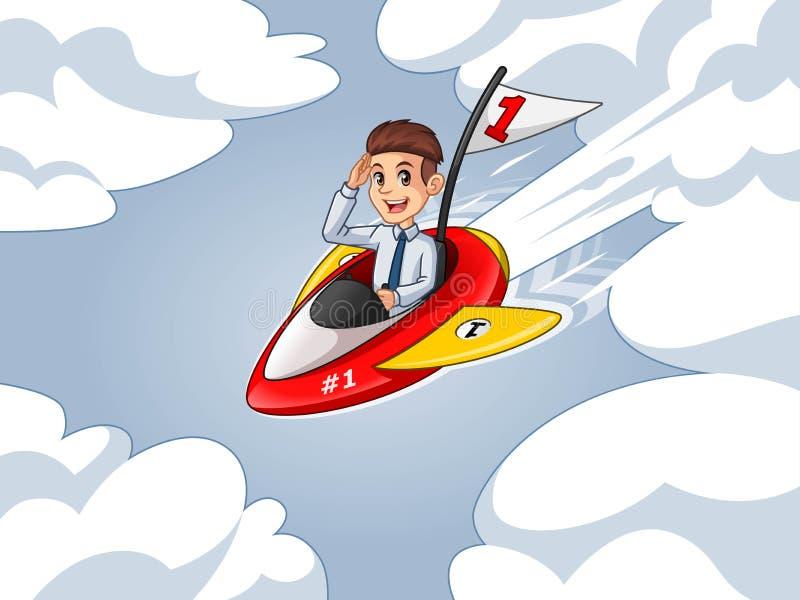 Hombre de negocios en la camisa que monta un cohete con la bandera del número uno stock de ilustración