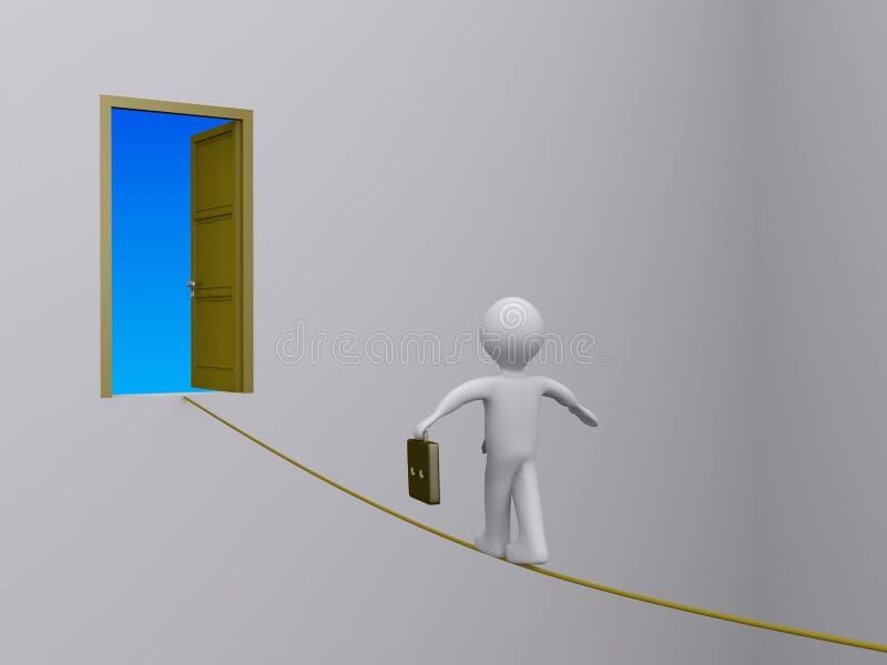 Hombre de negocios en la cuerda tirante que intenta alcanzar la puerta abierta ilustración del vector
