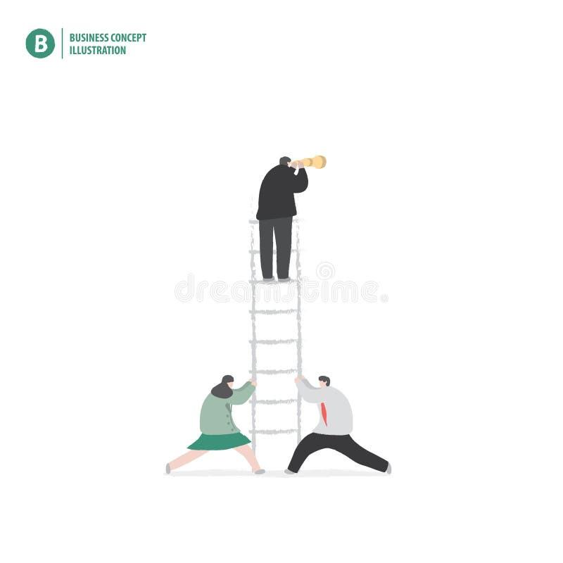 Hombre de negocios en la escalera con el socio que lleva a cabo encendido blanco libre illustration